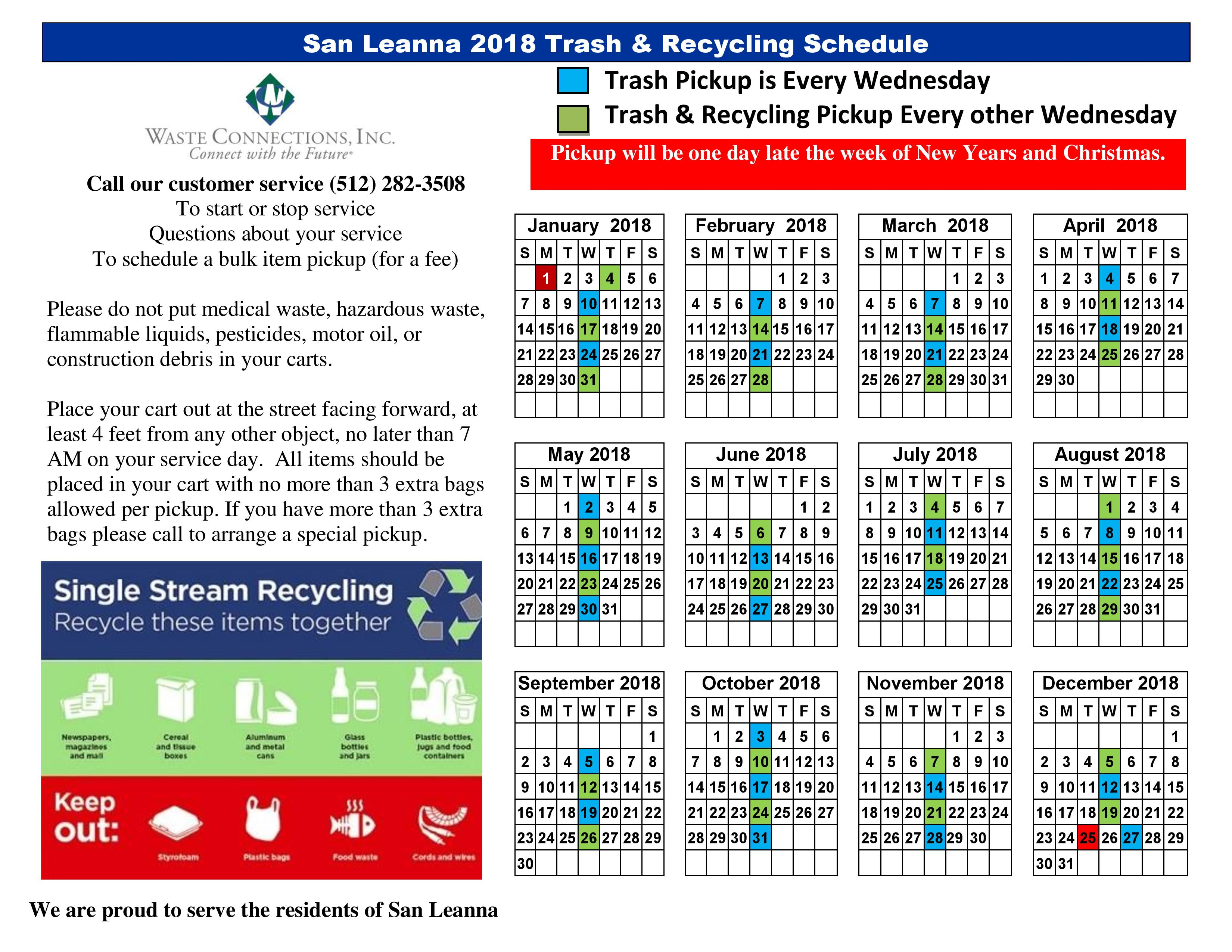 Austin Recycling Schedule 2019 Trash and Recycling Calendar 2018 – Village of San Leanna