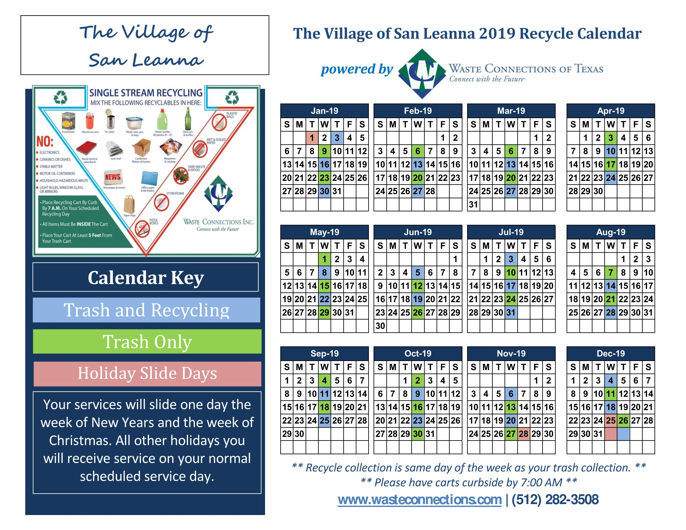 Trash and Recycling Calendar 2019