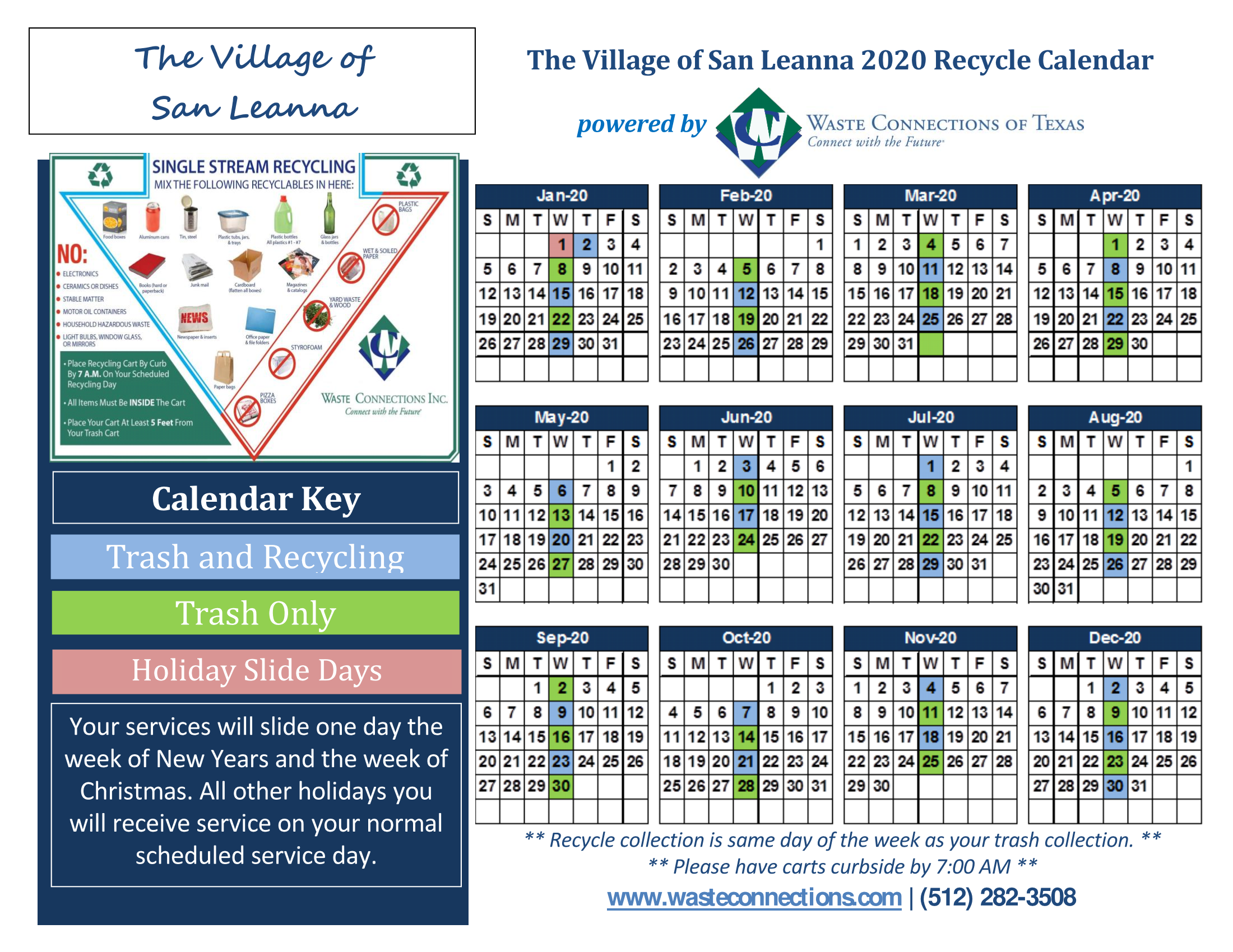 Trash and Recycling Calendar 2020